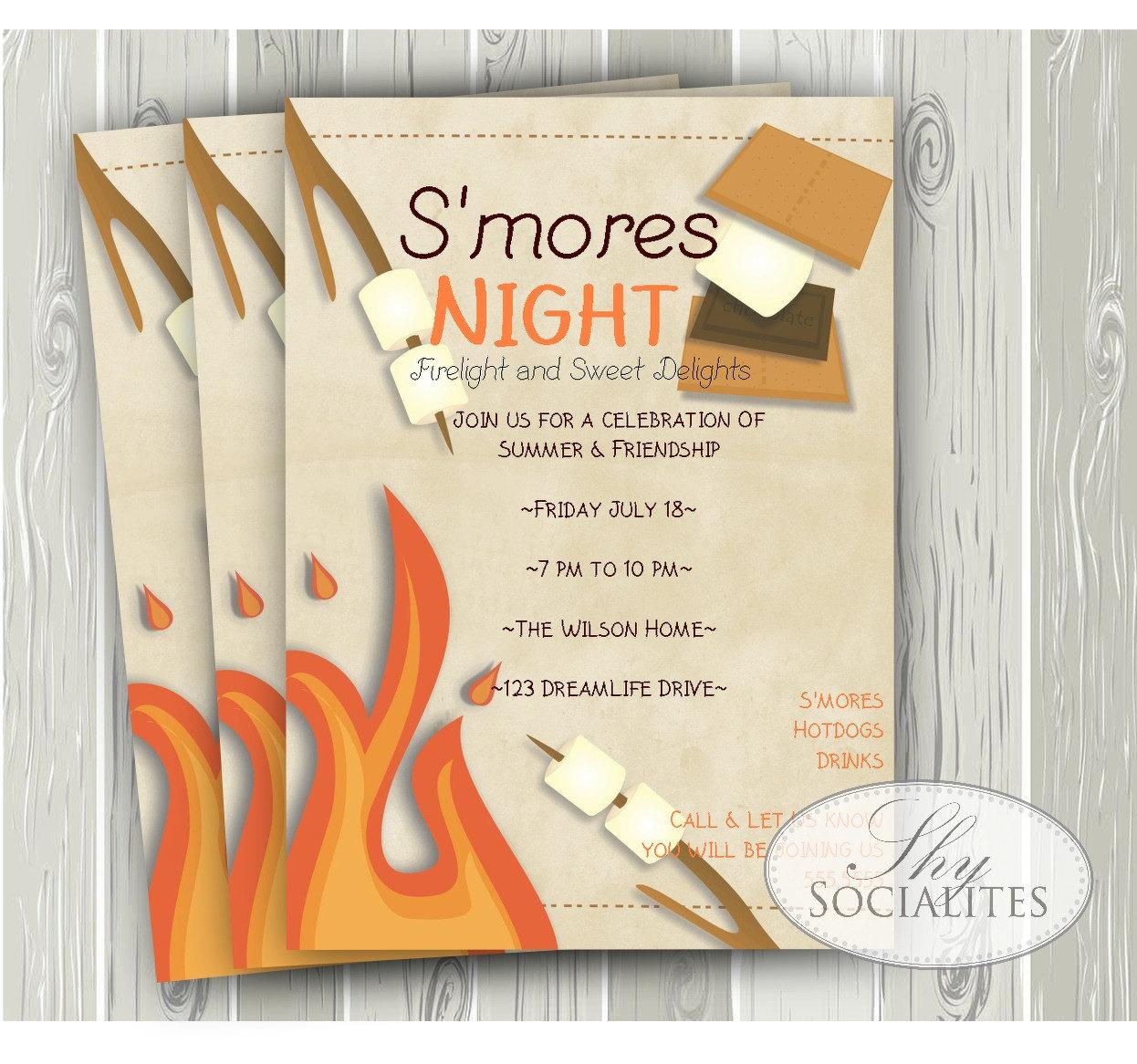 S\'mores Invitation Smores Camping Invitation Campfire