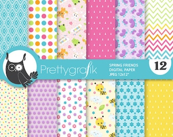 80% OFF SALE Spring friends digital papers, commercial use, animals scrapbook papers, woodland papers, background - PS917