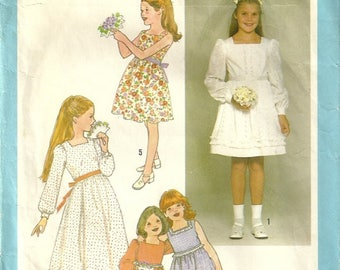 Simplicity 8409 1970's Vintage Long Flower Girl Confirmation Easter Granny Prairie Dress Sewing Pattern Size 7 - 8