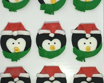 Christmas Penguin Fondant Cupcake Toppers