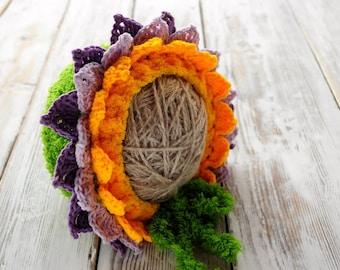 Newborn crochet Hat. Нat with petals. Hat Flower. Photo prop Hat. Baby Hat.
