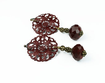 Vintage Style Deep Red Painted Filigree and Czech Glass Earrings