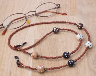 Brown beaded glasses chain - Dotty wood and bronze bead eyeglasses chain | Sunglasses holder | Spots eyewear accessories | Eyeglass necklace