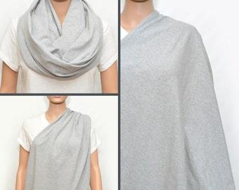 Gray Nursing Cover- Breastfeeding cover - Nursing Scarf - Nursing Infinity scarf - Nursing Cover - Infinity scarf