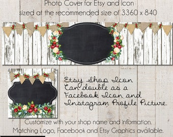 DIY Etsy Cover Photo - Add your own Text, Instant Download, Christmas Cottage, New Cover Photo For Etsy, Made to Match Graphics, Etsy Banner