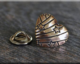 Brass Heart Tie Tac, Lapel Pin, Brooch, Gift for Him, Gift Under 10 Dollars, Stars and Stripes Heart Tie Tack, Love Unisex Pin