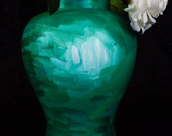 "10"" Tall Green Vase in Van Gogh Style"