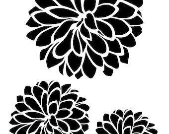 "5.8/8.3"" Dhalia flower stencil (3 flowers). A5."