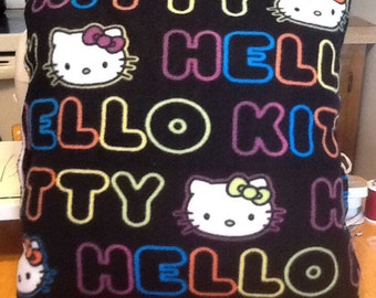 Neon hello kitty fleece throw pillow/ back is solid black cotton