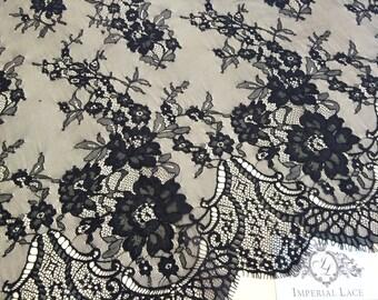 Black chantilly Lace fabric, Wedding lace, black chantilly lace fabric, flower pattern, french  M000020