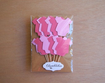 CLEARANCE. Mixed Pink Baby Bodysuit Cupcake Toppers.