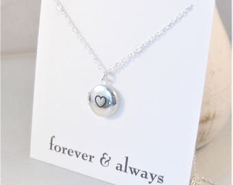 Forever and Always,Locket,Silver Heart Locket,Silver Heart Necklace,Silver Heart,Vintage Rose Gold Locket,Rose Gold Locket Necklace
