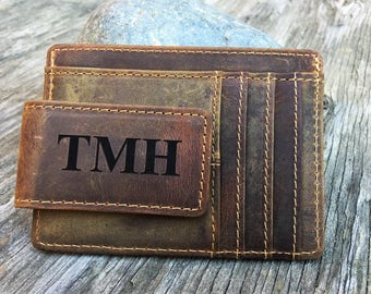 Monogrammed Minimalist Leather Money Clip, Personalized Rustic Leather ID Card Wallet, Men's Gift, Thin Custom Wallet, Magnetic A, Initials