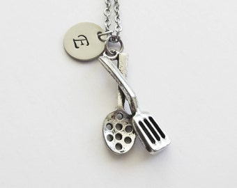 Cooking Utensils Necklace Kitchen Utensils Chef Cook Gift Best Friend Birthday Gift Silver Jewelry Personalized Monogram Hand Stamped Letter