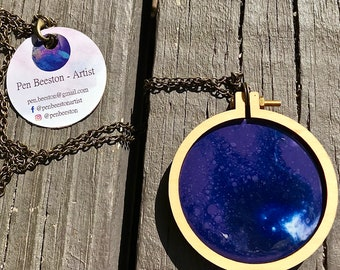 Miniature Embroidery Hoop Necklace - Resin
