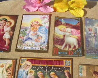 Sale! Lot of 7 collectible vintage colorful HOLY CARDS glitter borders from mother Mary Nealis, CATHOLIC nun: Rare!