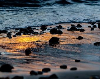 Beach Photography, Pebbles on the Beach, Sunset Photography, Hawaii Sunset, Blue Orange, Nature Photography, Bathroom Decor, Beach Artwork