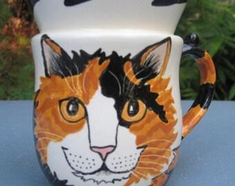 Custom Handmade Calico Cat Cup-handmade by Nina lyman of Cats By Nina