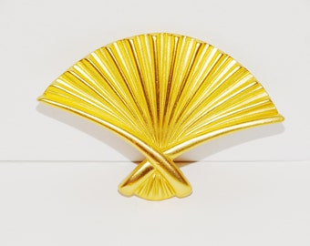Anne Klein Designer matt gold Fan Brooch.