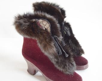 1940s Maroon Gaytees Rabbit Fur Galoshes - 6
