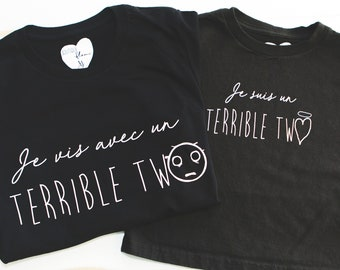 Duo Terrible Two short sleeve black t-shirt mother-child