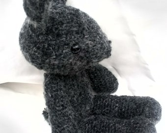 Crochet Peter rabbit bunny mohair wool amigurumi nursery hand knitted plushie grey black cuddly handmade Flopsy Cottontail Beatrix Potter