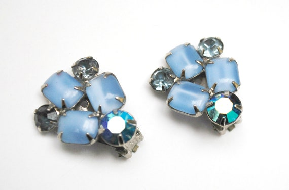 Blue Rhinestone  Earrings - Clip on earrings - Mid Century  light  blue moonstone aurora borealis   silver climbing  earring