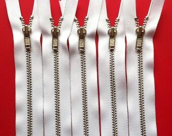 Metal Zippers- 7 inch closed bottom ykk nickel teeth zips- (5) pieces - White 501