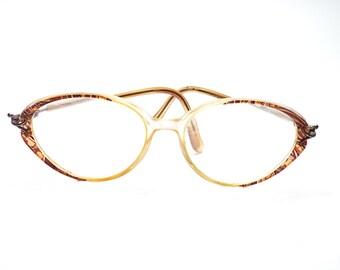 Rare Authentic Vintage  Paulette Guinet French Lucite leopard Print Cat Eye Eyeglasses Transparent Lucite Cat Eye Women's Glasses Frames