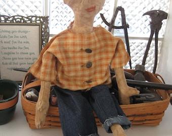 Primitive Folk Art Doll Gordon, OOAK, FAAP
