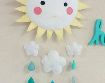 Sunshine Baby Mobile - You are my Sunshine. Nursery, Decor, Mobile, Clouds, Raindrops, Baby Shower, Custom Made