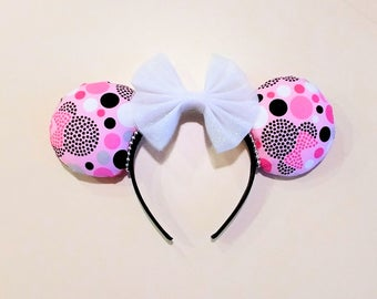 Pink, Black, and White Polka Dot Minnie Mouse Ears, Mickey Ears