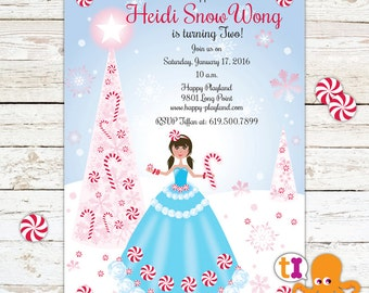 Peppermint Princess Birthday Party Invitation for Girls