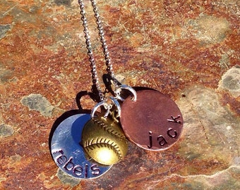 Hand stamped necklace - personalized  - custom - mothers - sterling silver, gold, copper