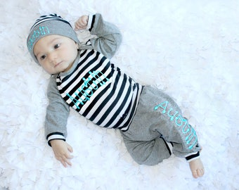 Preemie Clothes Newborn Baby Boy Take Home Outfit Baby Boy Clothes Monogram Personalized Baby to 5T Baby Gift Personalized Boy Hat Pants Opt