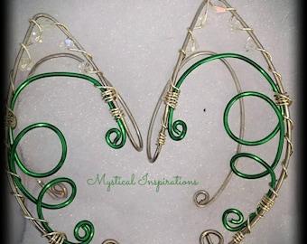 Elf Ears Fairy Ears Green and Silver Ear Cuffs Unique Loop Design