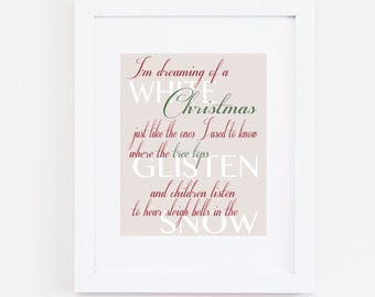 Holiday Art Print, Christmas Art Print, I'm Dreaming of a White Christmas Quote, Bing Crosby Song Lyrics, Home Decor, Instant Download