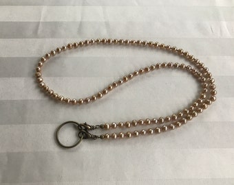 Tan Freshwater Pearl Lanyard Necklace ID Badge Holder