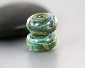 Lampwork Glass Beads - Pair - Lampwork Beads - Green