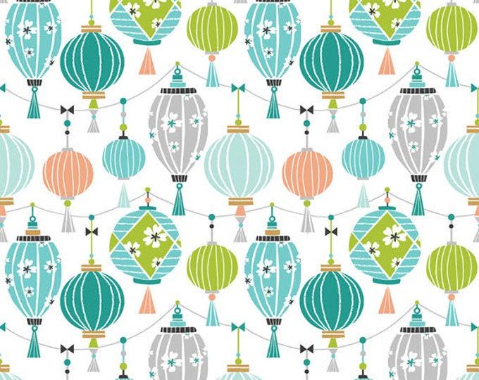 PANDA-RAMA - Lantern in Blue - Adorable Panda Bear Lanterns Cotton Quilt Fabric - by Maude Asbury for Blend Fabrics - 101.129.02.1 (W4283)