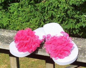 Pink Womens Flip Flops. Pink Womens 5/6 Small Ribbon Flip Flops. Pink And White Designed Ribbon Flip Flops. Pink Flower Flip Flops In Womens