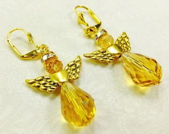 Angels Pretty Amber Glass Crystals with Wing Charms and Rhinestone Halos Dangle Earrings on Lever Back Ear Wires