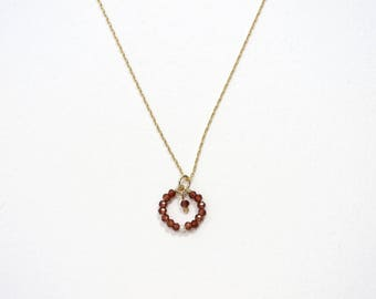 GARNET Circle Pendant Necklace / January Birthstone / Dainty Garnet Pendant Necklace / Gold and Red Necklace / Red Stone Necklace / BRAMBLE