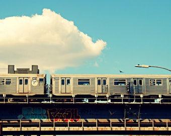 J Train, NYC Subway Photography Print, New York City Wall Art, Train Photograph
