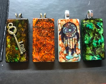 Alcohol ink domino pendants