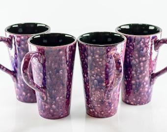 Mugs - 16 oz - Purple Cosmos - Bursting Crystal Design - Hand Painted