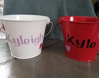 Personalized Valentines Day Medal Buckets
