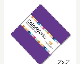 "20% off thru Apr 24th Northcott- 42 five  inch ""Charm Pack"" squares COLORWORKS RAINBOW 10 different cotton SOLIDS Premiim 9000"