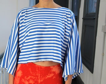 Striped Retro Festival Slouchy Batwing Sleeve Cropped Top