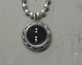 """Typewriter Key """"Colon Semicolon"""" Authentic Punctuation Necklace, Vintage Typewriter Pendant, Antique,Numbers, A-Z Letters By UPcycled Works"""